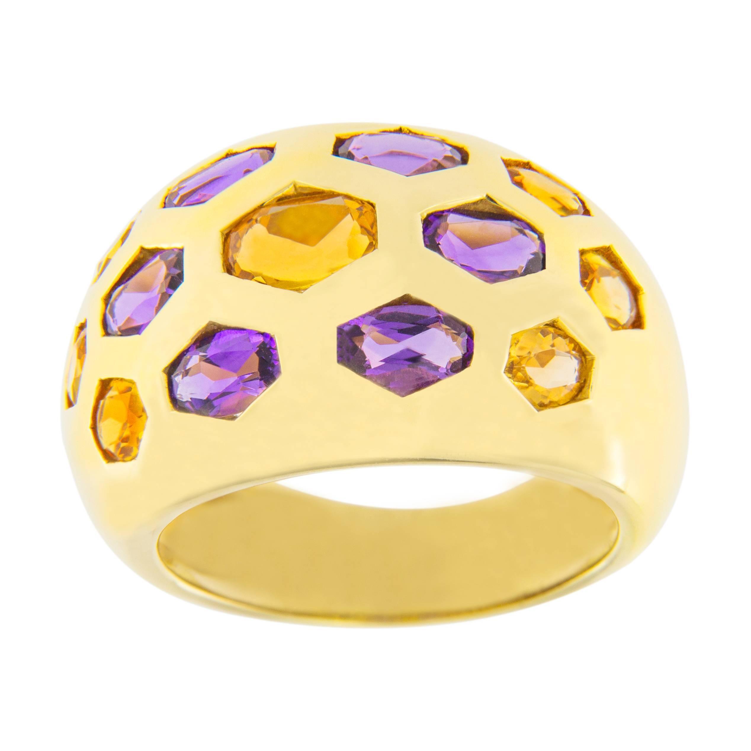Jona Citrine Amethyst 18 Karat Yellow Gold Dome Ring