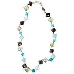 Jona Citrine Apatite Quartz 18 Karat Yellow Gold Necklace