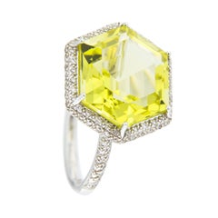 Jona Citrine White Diamond 18 Karat White Gold Solitaire Ring