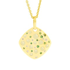 Jona Citrine Tsavorite Diamond 18 Karat Yellow Gold Cushion Pendant