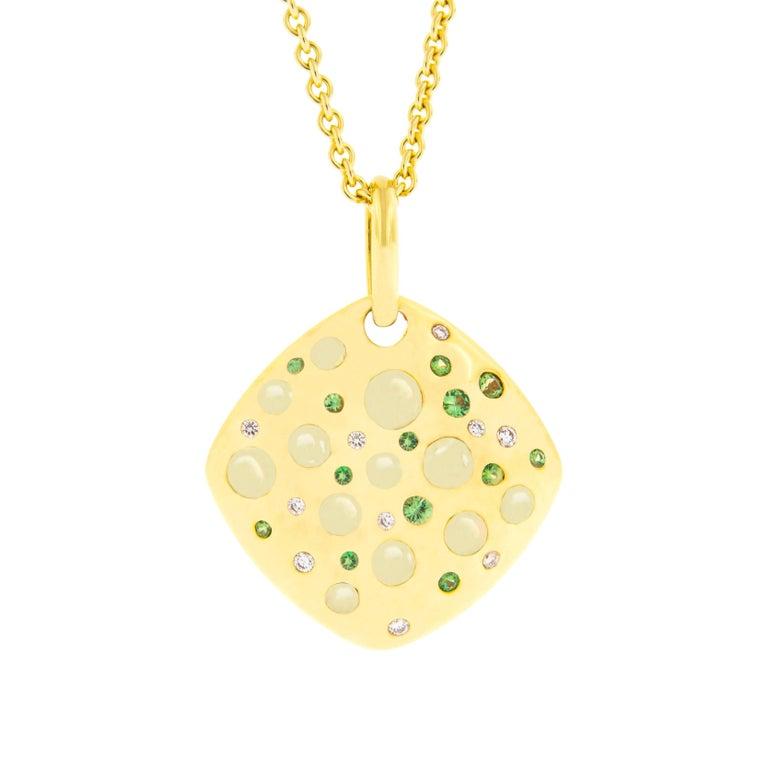 Jona Citrine Tsavorite Diamond Yellow Gold Cushion Pendant