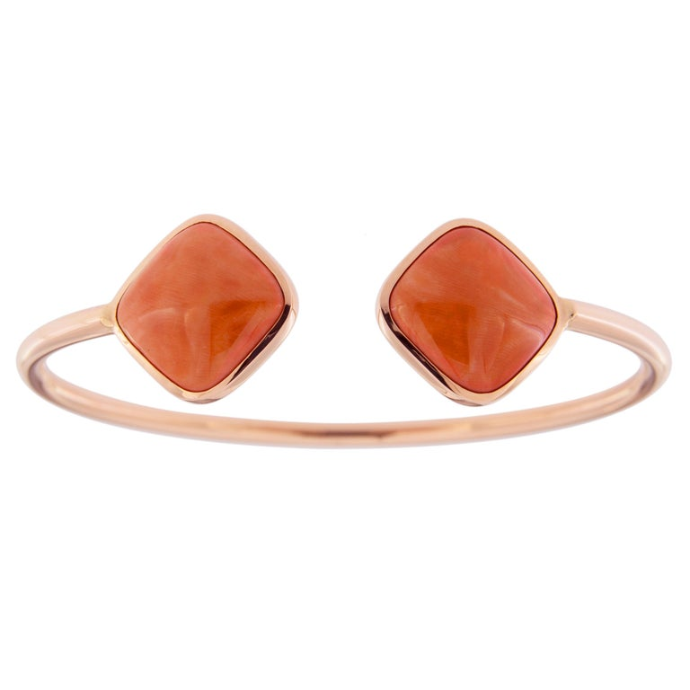 Jona Coral 18 Karat Rose Gold Bangle Bracelet In New Condition For Sale In Torino, IT