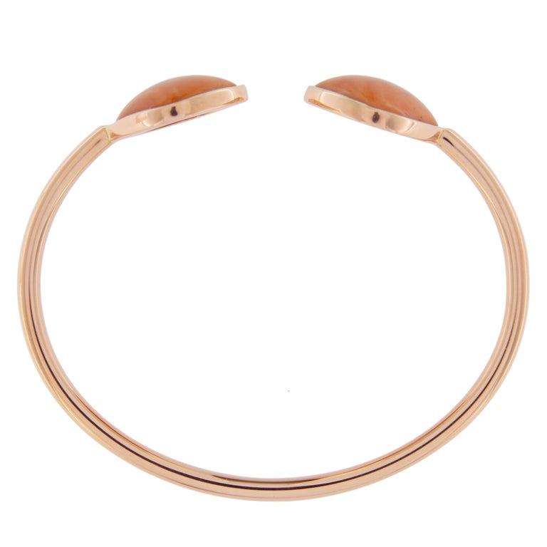 Jona Coral 18 Karat Rose Gold Bangle Bracelet For Sale 1