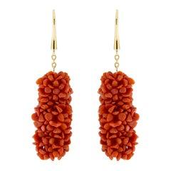 Jona Coral Pompon 18 Karat Yellow Gold Dangle Pendant Earrings
