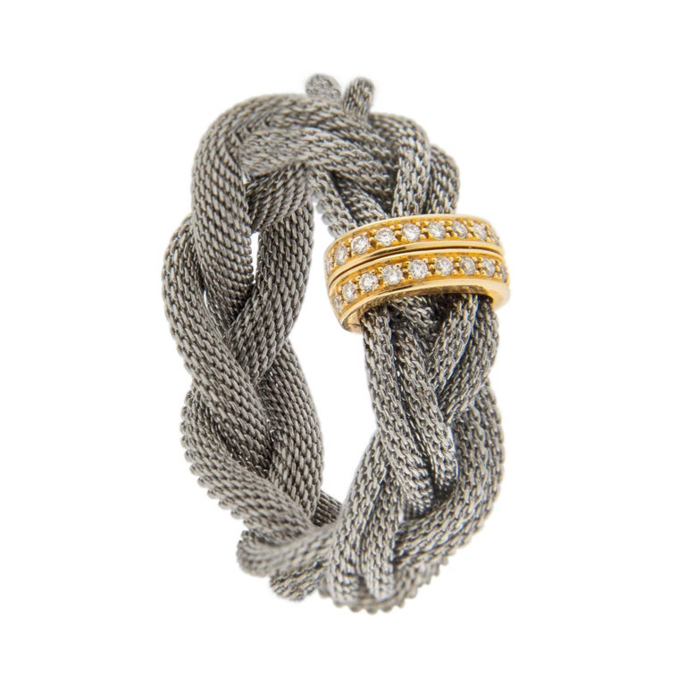 Jona Diamond Stainless Steel and Yellow Gold Band Ring