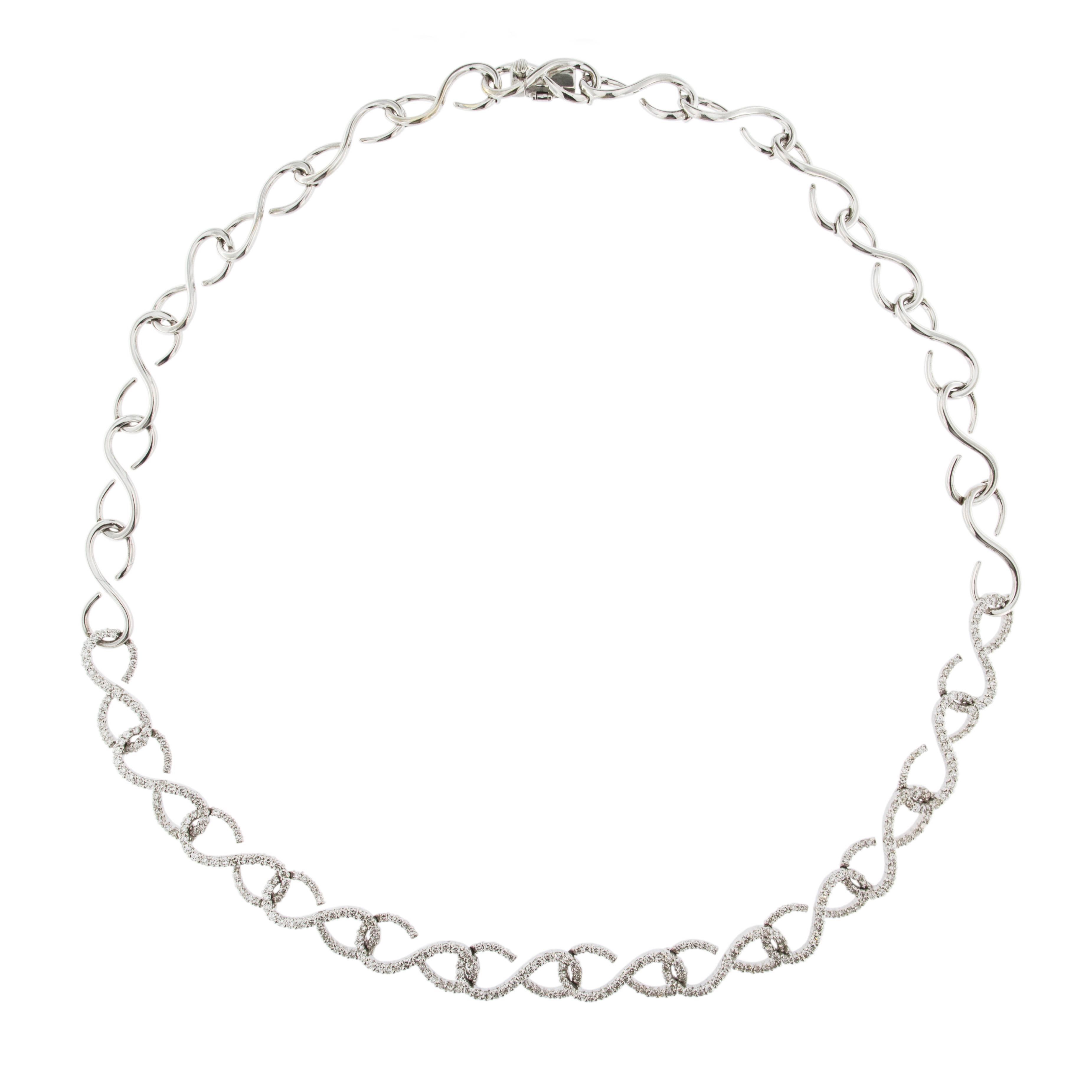 Jona White Diamond 18 Karat White Gold Link Necklace