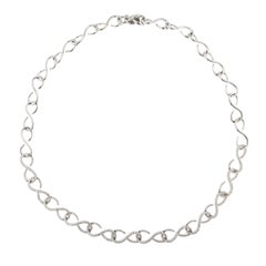 Jona White Diamond 18 Karat White Gold Link Necklace