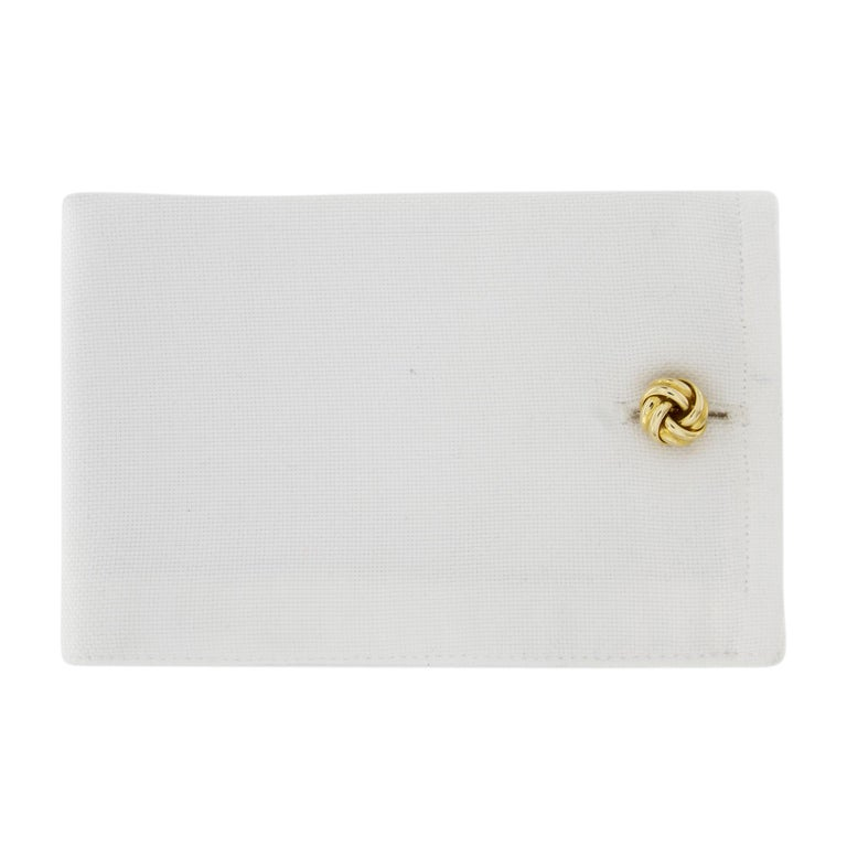 Jona design collection, hand crafted in Italy, 18 karat yellow gold double knot cufflinks. All Jona jewelry is new and has never been previously owned or worn. Each item will arrive at your door beautifully gift wrapped in Jona boxes, put inside an