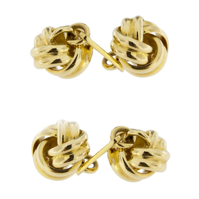 Jona Double Knot 18 Karat Yellow Gold Cufflinks In New Condition For Sale In Torino, IT
