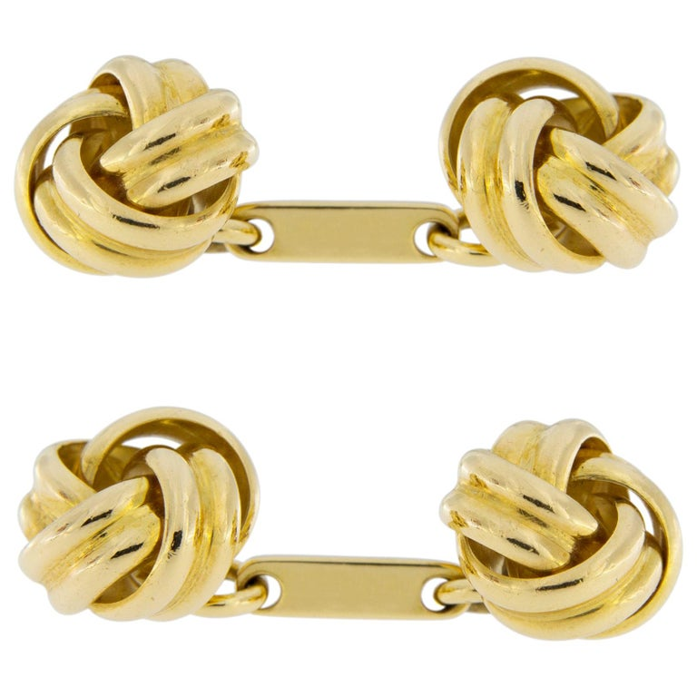 Jona Double Knot 18 Karat Yellow Gold Cufflinks For Sale