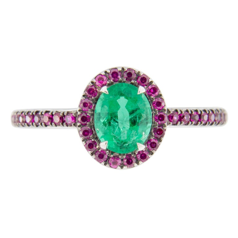 Jona Emerald and Ruby 18 Karat White Gold Solitaire Ring In New Condition In Torino, IT