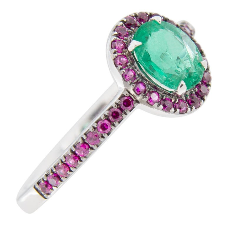 Women's or Men's Jona Emerald and Ruby 18 Karat White Gold Solitaire Ring