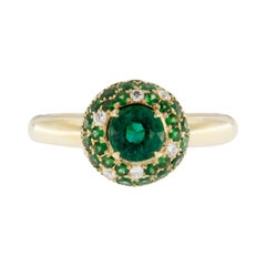 Jona Emerald White Diamond Tsavorite 18 Karat Yellow Gold Ring