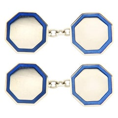 Jona Enamel Octagonal Sterling Silver Cufflinks