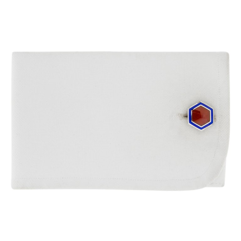 Jona design collection, hand crafted in Italy, Rhodium Plated Sterling Silver  hexagonal cufflinks, with blue enamel. Marked