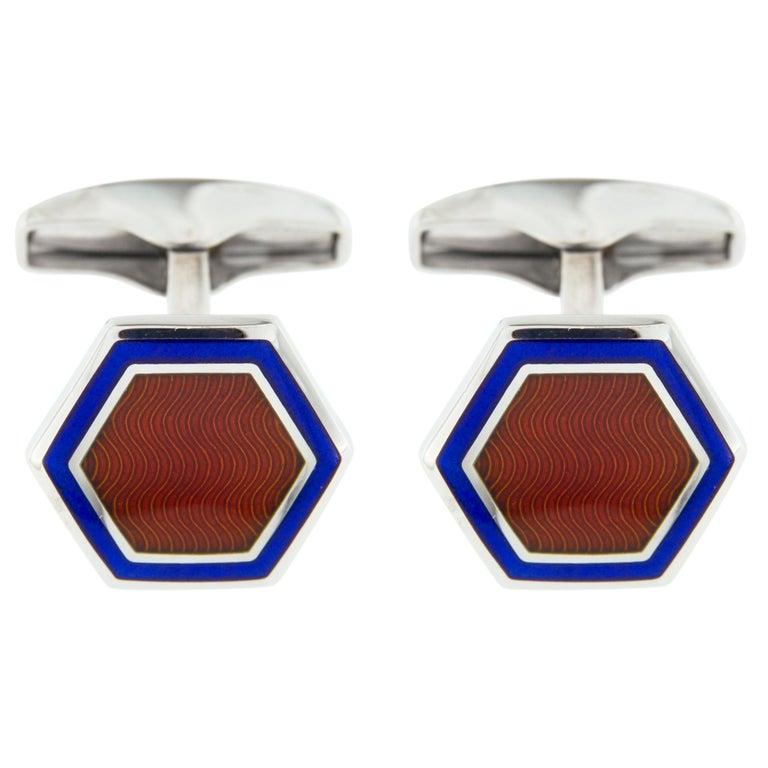 Jona Enamel Sterling Silver Cufflinks In New Condition For Sale In Torino, IT