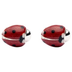 Jona Enamel Sterling Silver Red and Black Enamel Ladybug Cufflinks