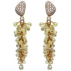 Jona Fancy Yellow and White Diamond 18 Karat Yellow Gold Cluster Earrings