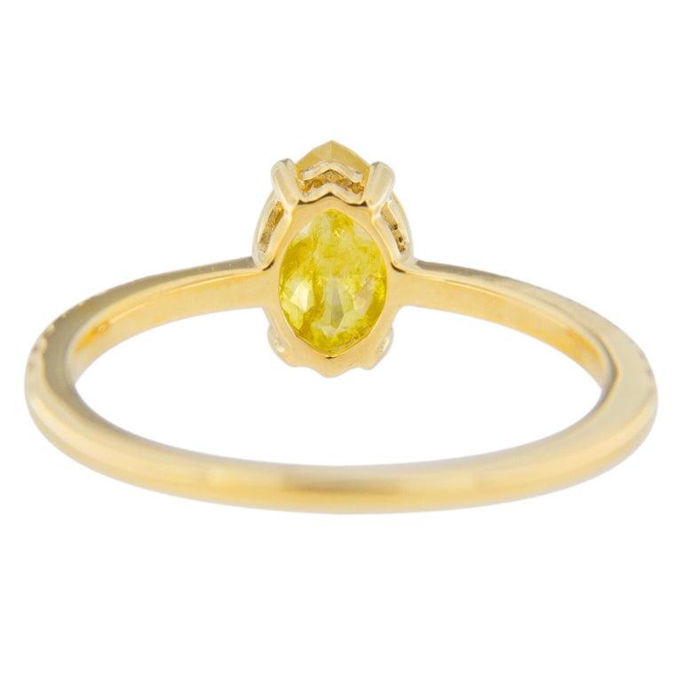 Women's or Men's Jona Fancy Yellow Diamond and Brown Diamond 18 Karat Yellow Gold Solitaire Ring For Sale
