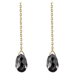 Jona Floating Black Diamond 18 Karat Yellow Gold Earrings