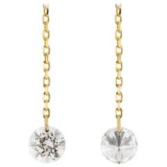 Jona Floating - Ohrringe aus 18 Karat Gelbgold mit weißen Diamanten
