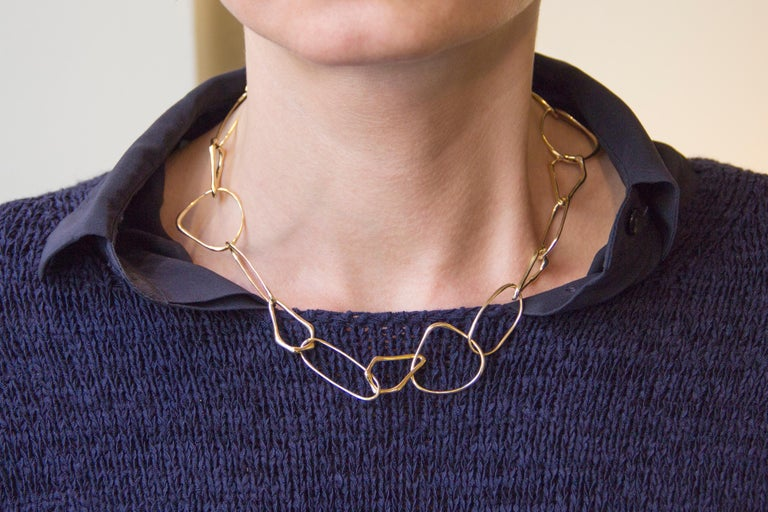 Jona design collection, hand crafted in Italy, 45 cm long free form 18 karat rose gold link necklace.  Dimension : L 45.5 cm - 17.91 in Weight : 37.5 g All Jona jewelry is new and has never been previously owned or worn. Each item will arrive at
