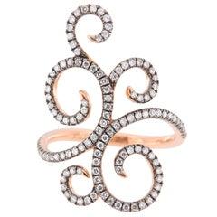 Jona Ghirigori White Diamond 18 Karat Pink Gold Ring