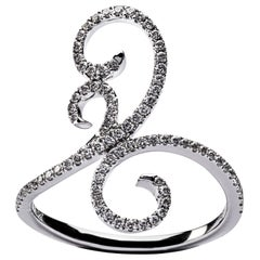 Jona Ghirigori White Diamond 18 Karat White Gold Ring