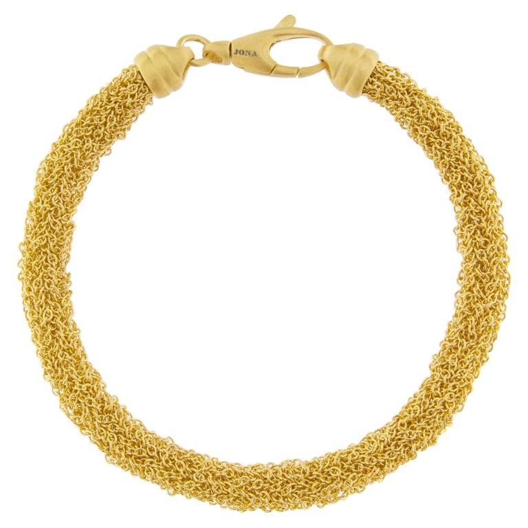 760de4ae179 Jona Gold-Plate Sterling Silver Woven Chain Bracelet For Sale at 1stdibs