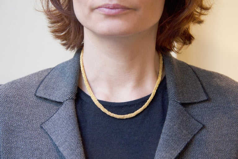 Jona design collection, hand crafted in Italy, gold-plate sterling silver long chain necklace made of woven small chains. Dimensions : L 17.32 in x D 0.19 in - L 44 cm x D 4.96 mm All Jona jewelry is new and has never been previously owned or worn.