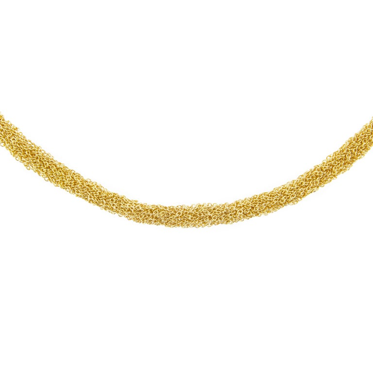 Jona Gold-Plate Sterling Silver Woven Chain Necklace In New Condition For Sale In Torino, IT