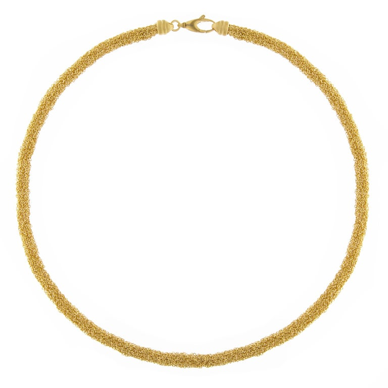 Jona Gold-Plate Sterling Silver Woven Chain Necklace For Sale