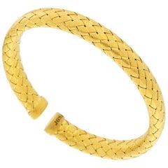 Jona Gold-Plated Sterling Silver Basket Weave Bangle Bracelet