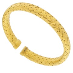 Jona Gold-Plated Sterling Silver Basket Weave Bangle Bracelet