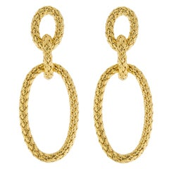 Jona Gold-Plated Sterling Silver Basket Weave Pendant Earrings