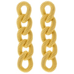 Jona Gold-Plated Sterling Silver Curb Link Pendant Earrings