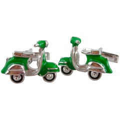 Jona Green Enamel Silver Scooter Cufflinks
