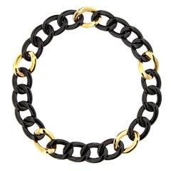 Jona High-Tech Black Ceramic 18 Karat Rose Gold Curb-Link Necklace