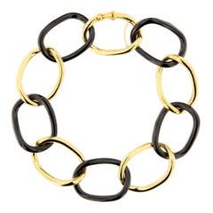 Alex Jona High-Tech Black Ceramic 18 Karat Yellow Gold Curb Link Bracelet