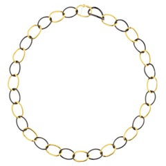 Jona High-Tech Black Ceramic Yellow Gold Curb-Link Necklace