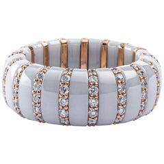 Jona High-Tech White Ceramic White Diamond 18 Karat Rose Gold Flexible Ring