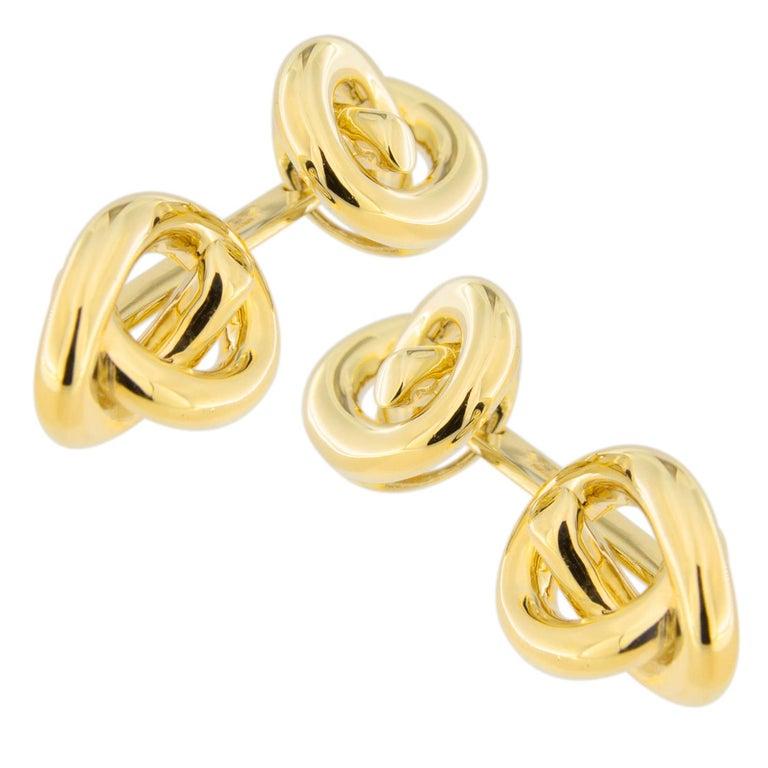 Women's or Men's Jona Knot 18 Karat Yellow Gold Cufflinks For Sale