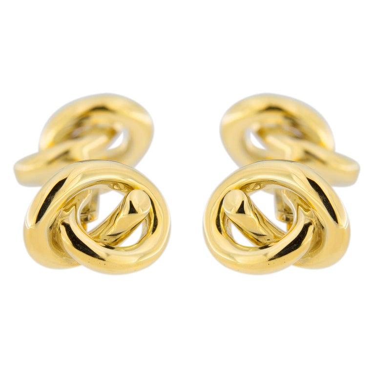 Jona Knot 18 Karat Yellow Gold Cufflinks For Sale 1