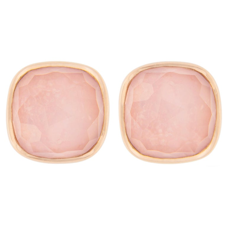 Jona Kunzite Quartz Mother of Pearl 18 Karat Rose Gold Stud Earrings For Sale