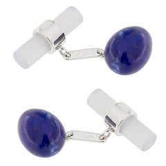 Jona Lapis Lazuli Egg and Chalcedony Cylinder 18 Karat White Gold Cufflinks