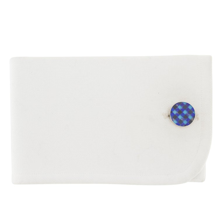 Jona design collection, hand crafted in Italy, rhodium plated sterling silver cufflinks with Lapis Lazuli, onyx, chalcedony checks inlayed pattern. Marked Jona 925. Dimensions: Diameter 0.59 in / 14.98 mm X Depth 0.10 in / 2.61 mm All Jona jewelry
