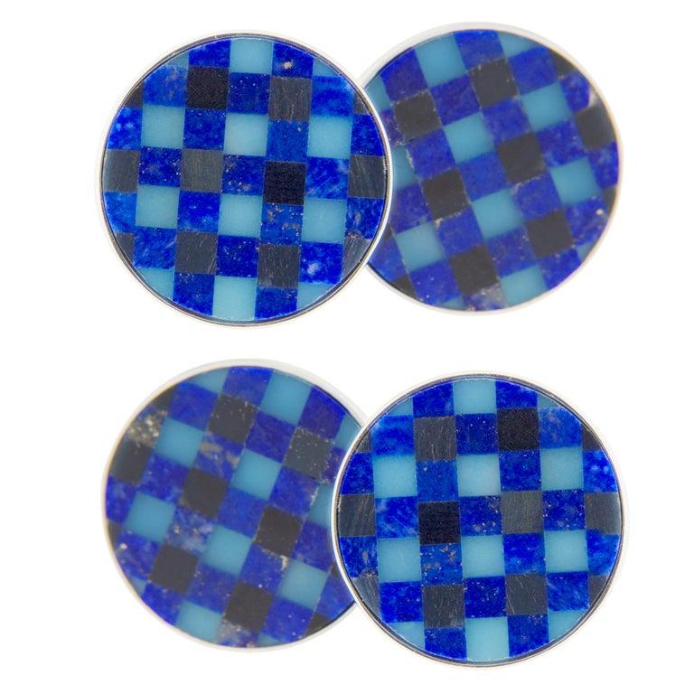Round Cut Jona Lapis Lazuli Onyx Chalcedony Checks Sterling Silver Cufflinks For Sale