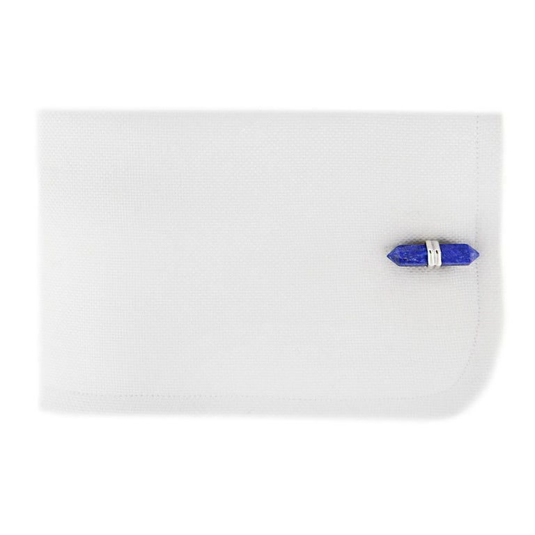 Jona design collection, hand crafted in Italy, Lapis Lazuli prism bar cufflinks mounted in rhodium plate sterling silver. Marked JONA, 925/°°° stamped. Measurements: L 0.86 in / 22 mm X 0.18 in / 4.80 mm  Also available in 18k gold. All Jona jewelry