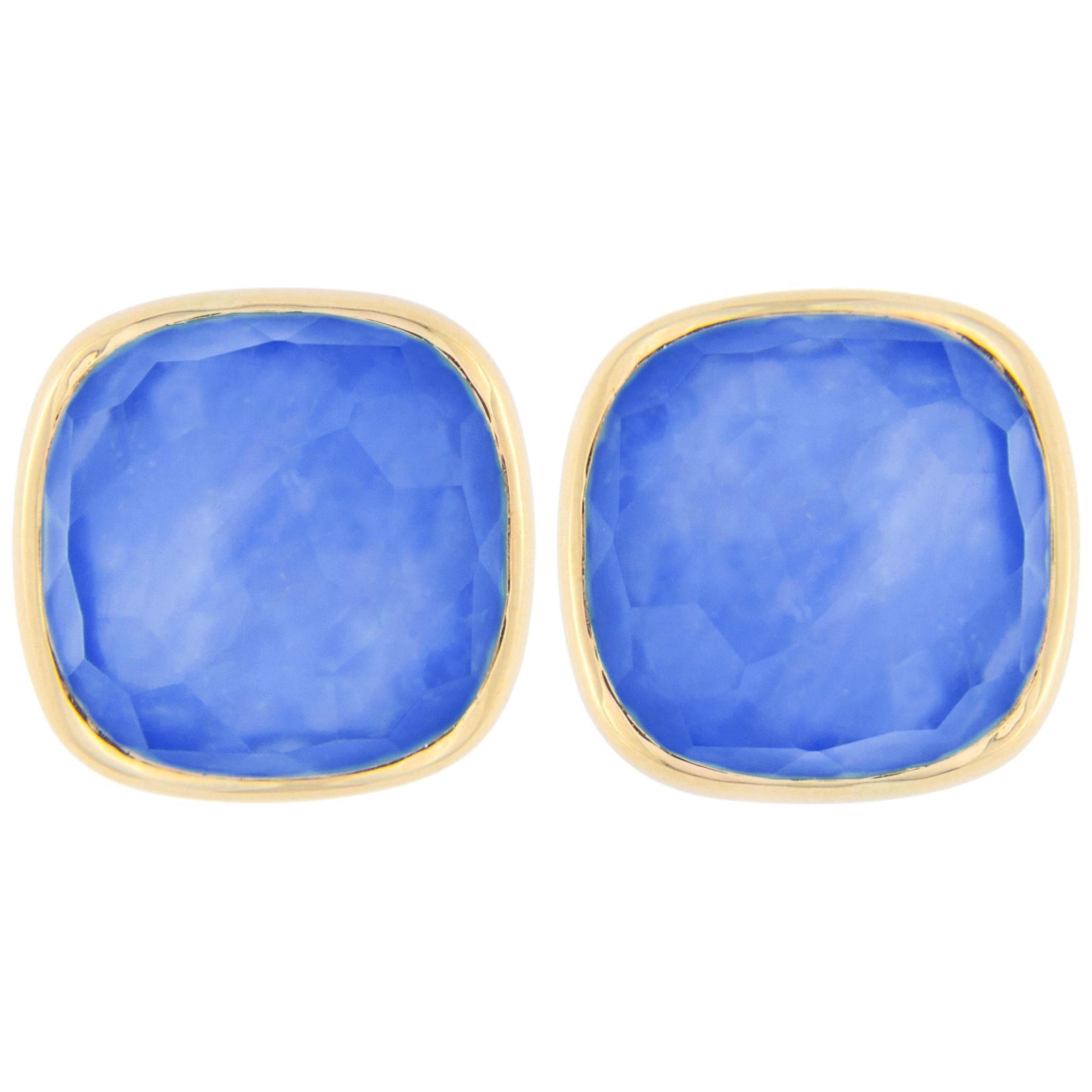 Jona Lapis Lazuli Quartz 18 Karat Yellow Gold Stud Earrings