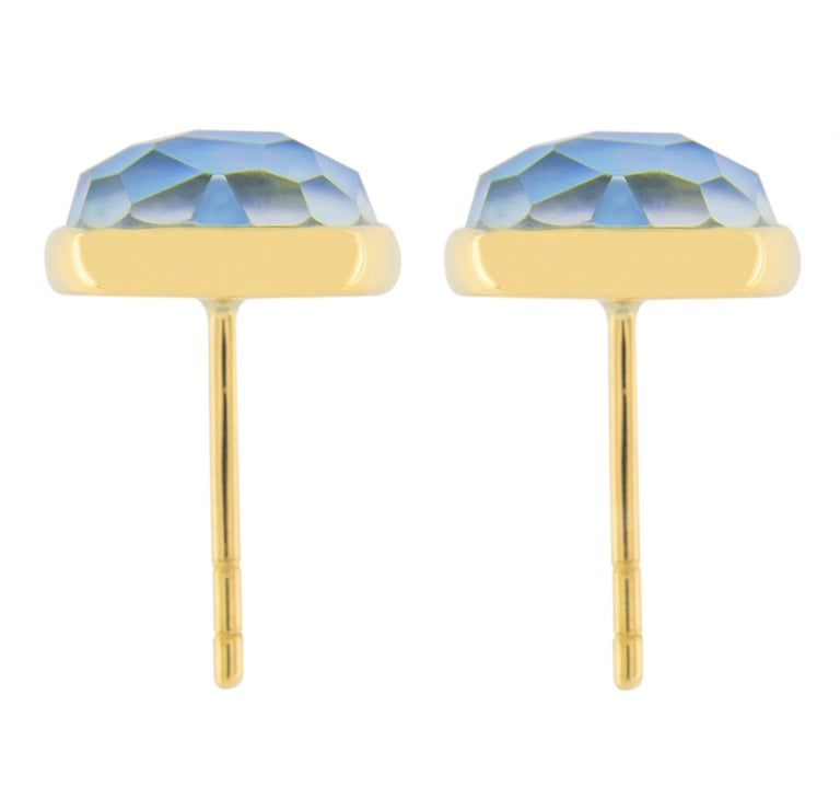 Jona Lapis Lazuli Quartz Mother of Pearl 18 Karat Yellow Gold Stud Earrings In New Condition For Sale In Torino, IT